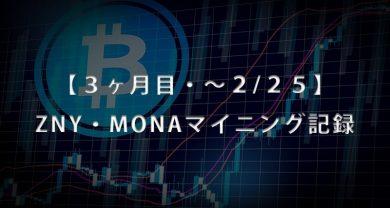 3ヶ月目25日BitZeny・MonaCoinマイニングサムネ