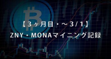 3ヶ月目3月1日BitZeny・MonaCoinマイニングサムネ